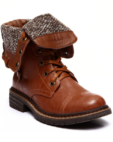 Fashion Lab - Women Tan Crowley Lace Up Foldover Knit Inside Boot