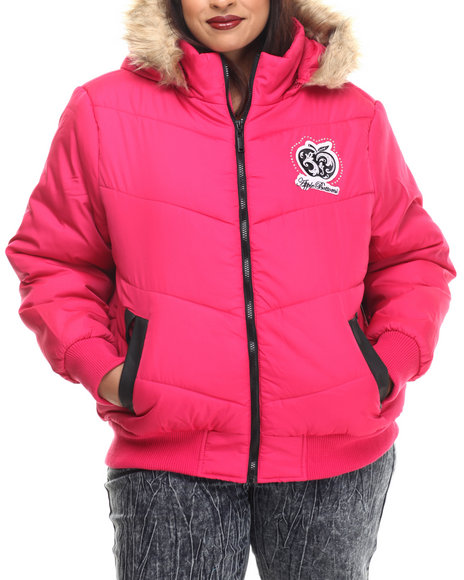 Apple Bottoms - Women Pink Fur Hood Puffer Jacket (Plus)