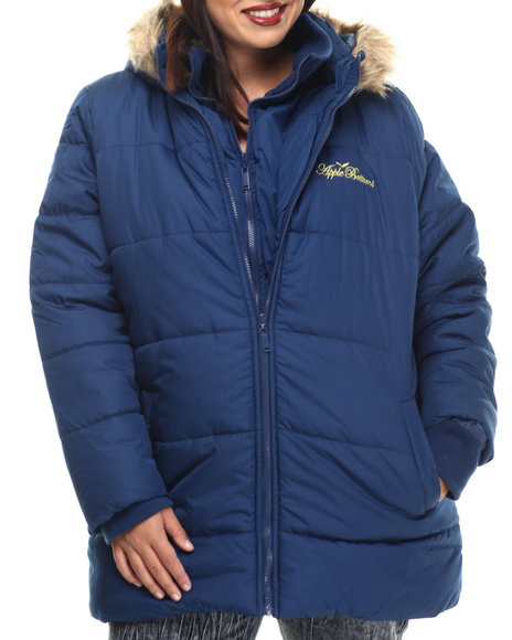 Apple Bottoms - Women Blue Fur Hood Double Zip Puffer Jacket (Plus)