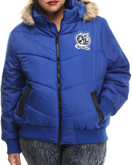 Apple Bottoms - Women Blue Fur Hood Puffer Jacket (Plus)