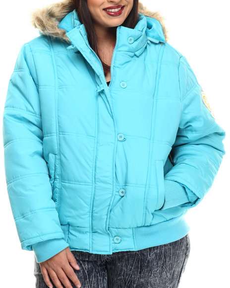 Apple Bottoms - Women Teal Fur Hood Puffer Jacket (Plus)
