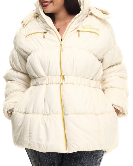 Apple Bottoms - Women Off White Fur Hood Belted Puffer Jacket (Plus)