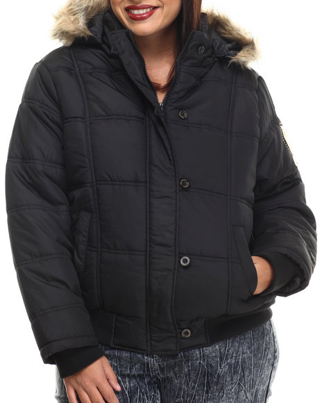 Apple Bottoms - Women Black Fur Hood Puffer Jacket (Plus)