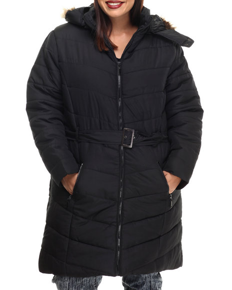 Apple Bottoms - Women Black Fur Hood Belted Long Puffer Jacket (Plus)