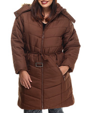 Apple Bottoms - Belted Long Puffer Jacket (Plus)