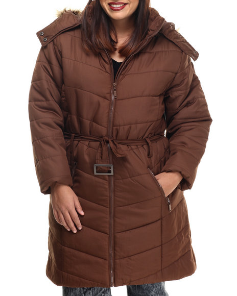Apple Bottoms - Women Brown Fur Hood Belted Long Puffer Jacket (Plus)