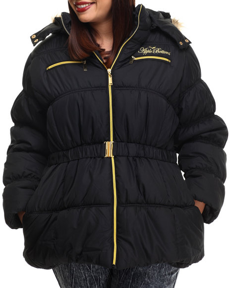 Apple Bottoms - Women Black Fur Hood Belted Puffer Jacket (Plus)