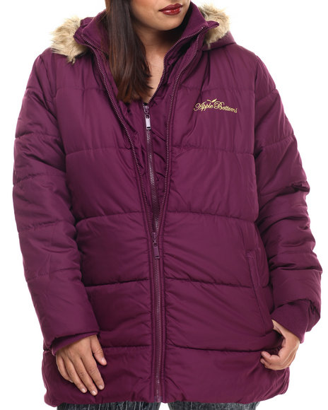 Apple Bottoms - Women Purple Fur Hood Double Zip Puffer Jacket (Plus)