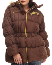Apple Bottoms - Hooded Belted Puffer Jacket (Plus)