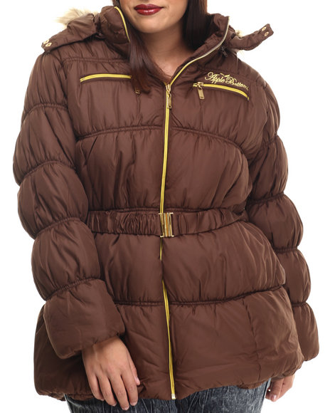 Apple Bottoms - Women Brown Fur Hood Belted Puffer Jacket (Plus)