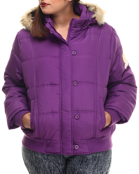 Apple Bottoms - Women Purple Fur Hood Puffer Jacket (Plus)