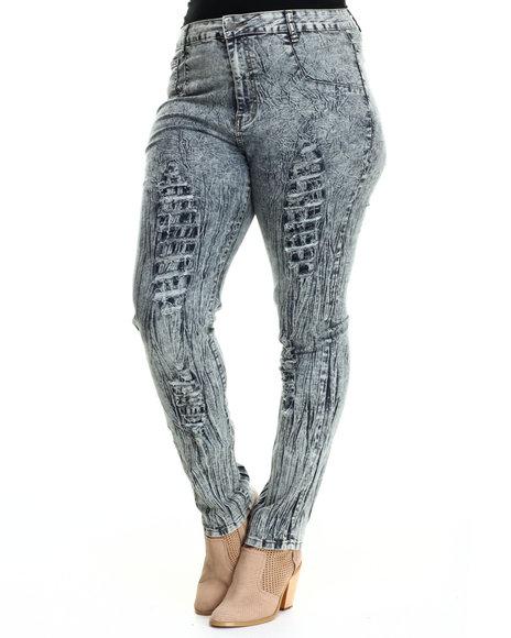 Basic Essentials - Women Vintage Wash Acid Tears Skinny Jeans W/Destruction Detail (Plus)