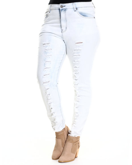 Basic Essentials - Women Light Wash Rock N Roller Skinny Jean W/Destruction Detail (Plus) - $38.00
