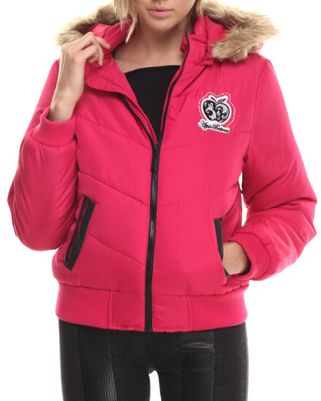 Apple Bottoms - Women Pink Fur Hood Puffer Jacket - $46.99