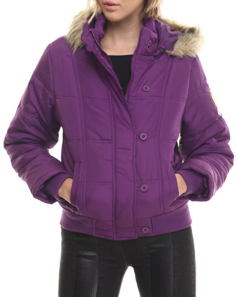 Apple Bottoms - Women Purple Fur Hood Puffer Jacket