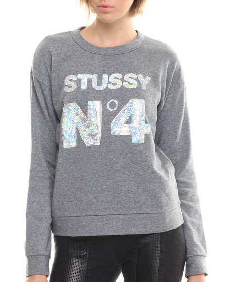 Ur-ID 206666 Stussy - Women Grey Stussy No. 4 Sequin Sweatshirt