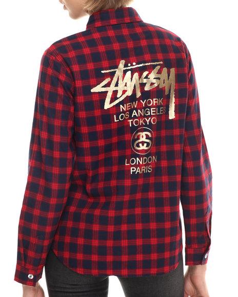 Stussy - Women Navy,Red World Jack Shirt