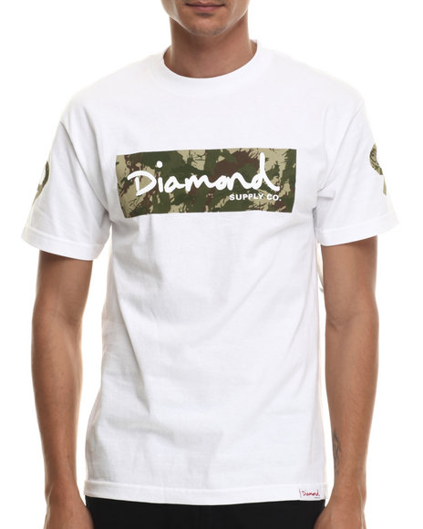 Diamond Supply Co - Men White Ls Camo Box Logo Tee