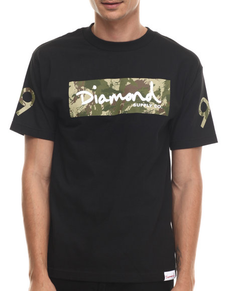 Diamond Supply Co - Men Black Ls Camo Box Logo Tee