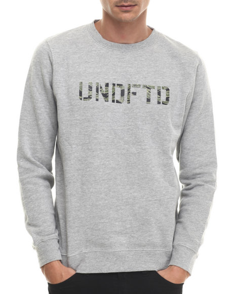 Undftd - Men Grey Camo Stencil Crew Sweatshirt