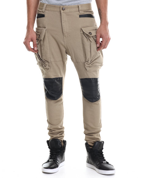 Buyers Picks - Men Khaki Heavy Twill Stretchable Long Pants W/ Faux Leather Trim