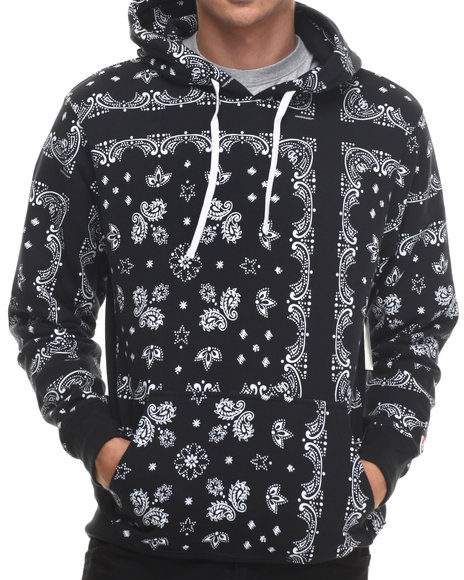 Undftd - Men Black Bandana Pullover Hoodie