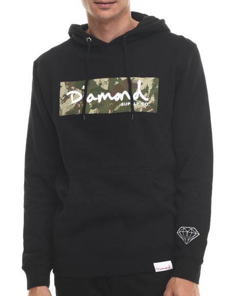 Diamond Supply Co - Men Black Ls Camo Box Logo Hoodie - $80.00
