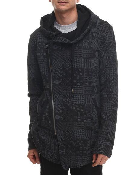 Buyers Picks - Men Black Aztec Multi - Block Printed Fleece Hooded Jacket