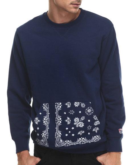 Undftd - Men Navy Bandana Pocket Crew Sweatshirt