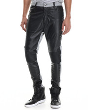 Men - Faux Leather / Fleece Pants