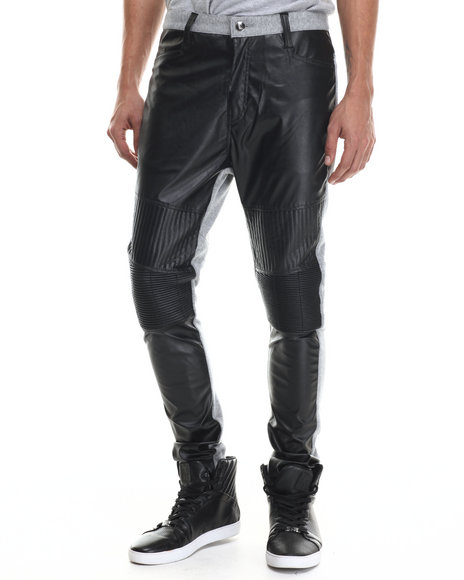 Buyers Picks - Men Black,Grey Faux Leather / Fleece Pants