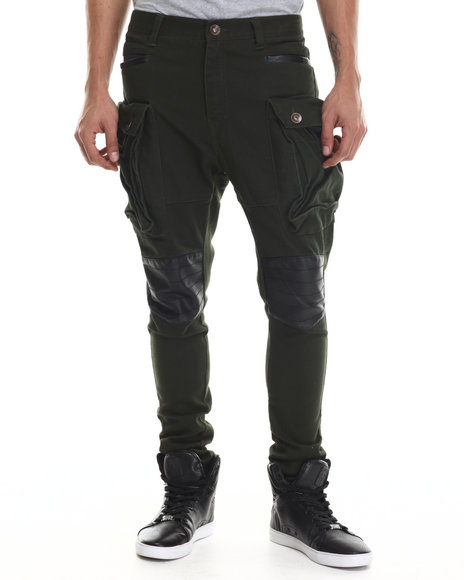 Buyers Picks - Men Green Heavy Twill Stretchable Long Pants W/ Faux Leather Trim