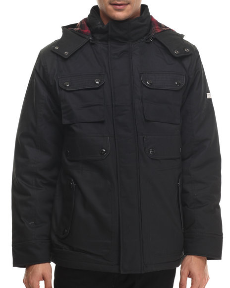 Coogi - Men Black Detachable Hoody Twill Parka Jacket