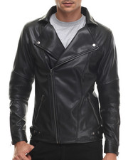 Men - Faux Leather / Fleece Motorcycle - Style Jacket