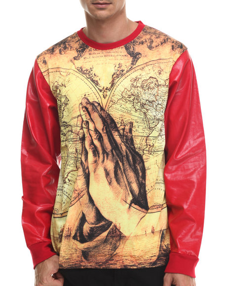 Buyers Picks - Men Red World In Hands Sublimated L/S Shirt - $34.00