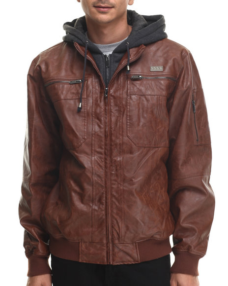 Coogi - Men Light Brown Faux Leather Jacket W/ Attached Fleece Hoody