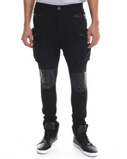 Men - Heavy Twill Stretchable Long Pants W/ Faux Leather Trim