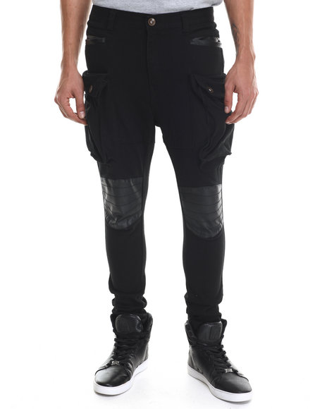 Buyers Picks - Men Black Heavy Twill Stretchable Long Pants W/ Faux Leather Trim