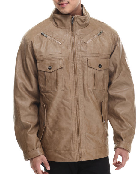 Coogi - Men Tan Washed Faux Leather Jacket