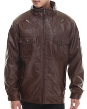 Leather Jackets - Washed Faux Leather Jacket