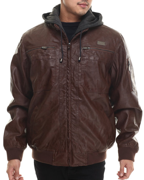 Coogi - Men Brown Faux Leather Jacket W/ Attached Fleece Hoody