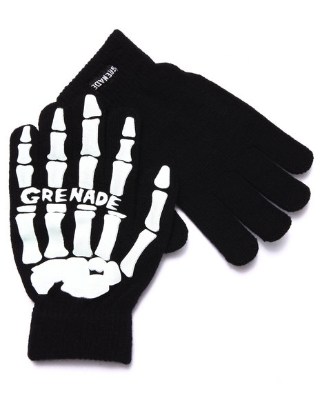 Grenade Men Skeleton Knit Gloves Black