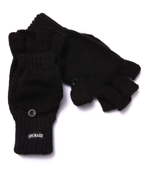 Grenade Men Convertible Knit Gloves Black