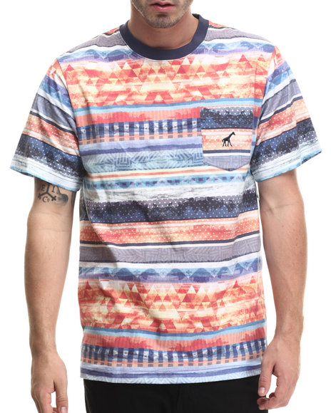 LRG - Men Blue Research Collection Striped T-Shirt