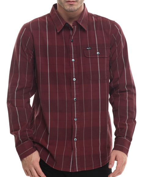 Lrg - Men Maroon Research Collection Plaid L/S Button-Down