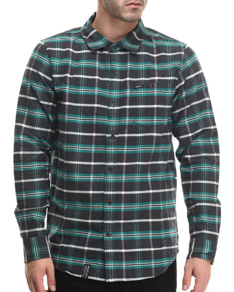 Lrg - Men Green Independent Thinkers Plaid L/S Button-Down