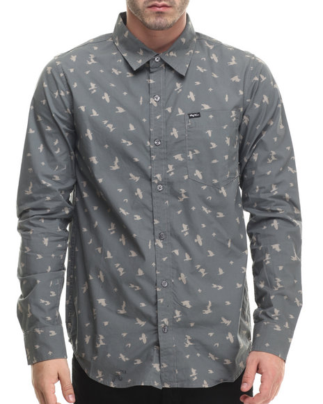 Lrg - Men Grey Research Collection Printed L/S Button-Down