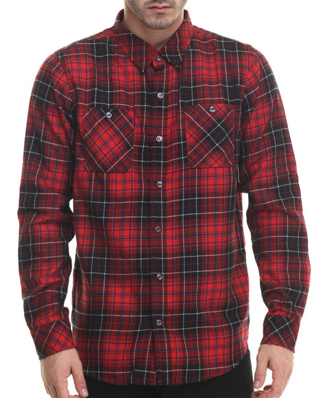 Lrg - Men Red Heavy Metal Plaid L/S Button-Down