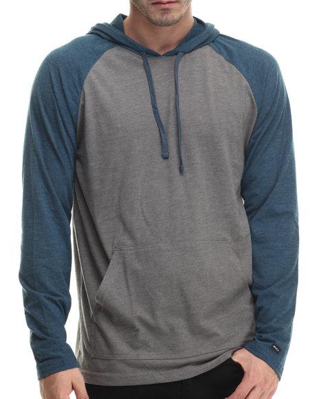 Rvca - Men Grey Castro Jersey Raglan Hoodie