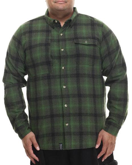 Lrg - Men Green Buckshot L/S Button-Down (B&T)
